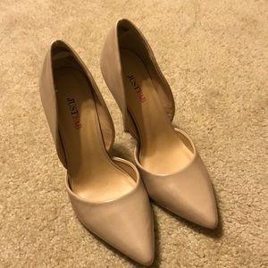 Women's 7 1/2 beige 3 inch heels. Slightly worn